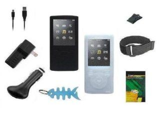9 Items Accessory Combo Kit for Sony Walkman E Series Walkman (NWZ E353 & NWZ E354) Includes Two Silicone Skin Cases (One Black & One Clear/White), Armband, Belt Clip, LCD Screen Protector, USB Wall Charger, USB Car Charger, 2in1 USB Data Cable an