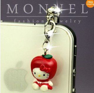 Ip357 Luxury Hello Kitty 3d Charm Anti Dust Plug Cover for Iphone 4 4s Cell Phones & Accessories