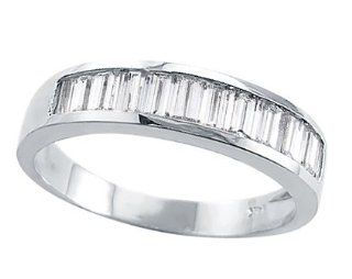 Wedding 14k White Gold Band Channel Set Baguette Cubic Zirconia Ring Jewel Tie Jewelry
