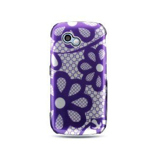Purple Lace Flower Hard Cover Case for LG Neon 2 Rumor Plus GW370 Cell Phones & Accessories