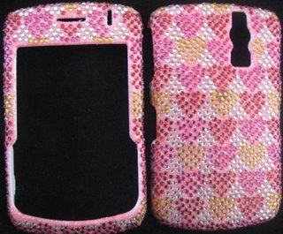 FULL DIAMOND CRYSTAL STONES COVER CASE FOR BLACKBERRY CURVE 8300 8320 8330 PINK HEARTS Cell Phones & Accessories