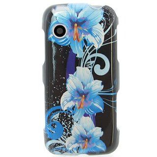 Crystal Hard snap on BLACK With BLUE FLOWERS Desing Faceplate Cover Case for LG GS390 PRIME (AT&T) [WCB374] Cell Phones & Accessories
