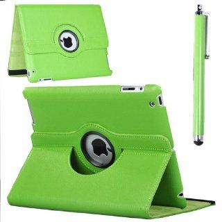 360� Rotating Green Pu Leather Smart Cover Case Stand for the New Ipad 3rd Gen Cell Phones & Accessories