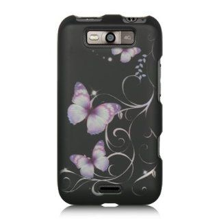 VMG For LG Connect 4G Cell Phone Graphic Image Design Faceplate Hard Case Cover   Black w/ Purple Butterflies Floral Flower Cell Phones & Accessories