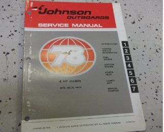 1978 Johnson ELECTRIC OUTBOARDS BOW MOUNT MODELS Service Shop Repair Manual johnson Books