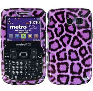 Purple Leopard Hard Case Cover for Straight Talk Samsung R375C Cell Phones & Accessories