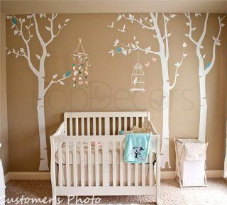 PopDecors   Three birch trees and birdcage Custom Beautiful Tree Wall Decals for Kids Rooms Teen Girls Boys Wallpaper Murals Sticker Wall Stickers Nursery Decor Nursery Decals   Home Decor Products