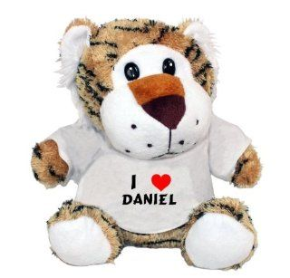 Plush Tiger Toy with I Love Daniel t shirt (first name/surname/nickname) Toys & Games