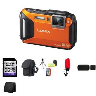 Panasonic Lumix DMC TS5 Digital Camera (Orange) + 32GB SDHC Class 10 Memory Card + Carrying Case + Mini Tripod Kit + Durable Float Strap for Digital Cameras + USB SDHC Reader + Memory Wallet  Camera & Photo