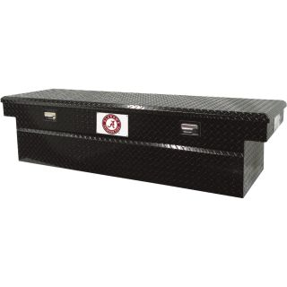 Tradesman Aluminum Single-Lid Crossbed Truck Box — Diamond Plate, University of Alabama Logo, 71in.L x 22in.W x 18in.H