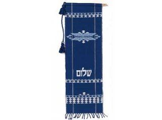 ArtisanStreet's Blue Shalom Banner. Hand Woven, 100% Cotton. Ready For Wall with Twisted Cord & Wooden Rod.
