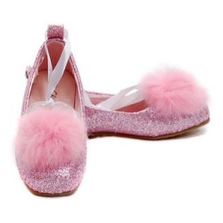 China Doll Girls Size 12 Pink Sparkle Marabou Ribbon Ballet Flat Shoe Shoes