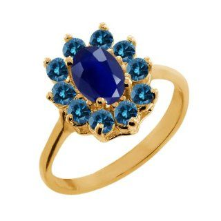 1.33 Ct Oval Blue Sapphire Blue Diamond 14K Yellow Gold Ring Jewelry