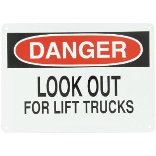 "Brady 23002 14"" Width x 10"" Height B 401 Plastic, Black and Red on White Sign, Header ""Danger"", Legend ""Look Out For Lift Trucks"" Industrial Warning Signs"