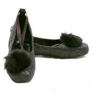 China Doll Girls Size 4 Black Sparkle Marabou Ribbon Ballet Flat Shoe China Doll Shoes