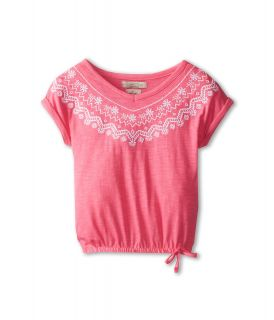 Lucky Brand Kids Embroidered V Neck Top Girls Short Sleeve Pullover (Pink)