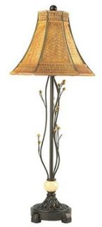 Lite Source C401 Bali Table Lamp, Dark Bronze with Woven Shade