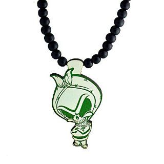 Swaggwood Wooden Green Alien Pendant Beaded Necklace Made in the USA Jewelry