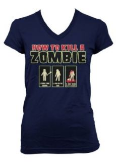 (Cybertela) How To Kill A Zombie Junior Girl's V neck T shirt Funny Gothic Horror Tee (Navy Blue, X Large) Clothing