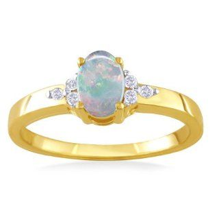 OCTOBER Birthstone Ring 14k Yellow Gold Diamond & Opal Ring Jewelry