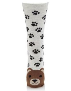 Accessorize Womens Pierre Bear Face Sock Size One Size Multi