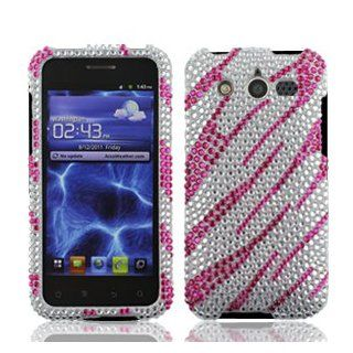 Huawei Mercury M886 M 886 / Glory Cell Phone Full Crystals Diamonds Bling Protective Case Cover Silver and Hot Pink Zebra Animal Skin Stripes Design Cell Phones & Accessories