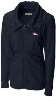 NFL Denver Broncos Women's Squeeze Play Full Zip Fleece Jacket, Navy Blue, X Large  Sports Fan Outerwear Jackets  Clothing