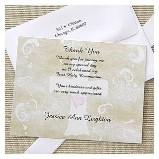 Christian Cross Personalized Holy Communion Thank You Cards  Greeting Cards