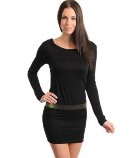 Stanzino Women's Long Sleeve Black Dress with Banded Waist S
