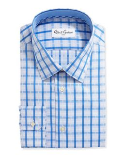 Long Sleeve Plaid Poplin Dress Shirt, Blue