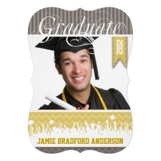 Yellow Gray Zig Zag Senior Picture Class of Custom Invitations