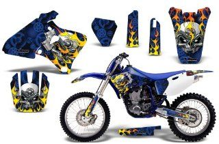 Motorhead AMRRACING MX Graphics decal kit fits Yamaha YZ 250/400/426 (1998 2002) Blue Automotive