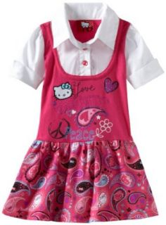 Hello Kitty Girls 2 6X Short Sleeve Vest Dress, Pink, 2T Clothing