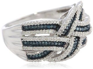 Sterling Silver Blue and White Diamond Orbit Ring (1/2 cttw, I J Color, I2 I3 Clarity), Size 7 Jewelry