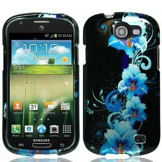 Blue Flower Hard Cover Case for Samsung Galaxy Express SGH I437 Cell Phones & Accessories