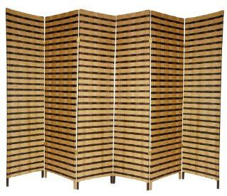 Oriental Furniture Good Simple Extra Wide Large Size Room Divider, 6 Feet Rattan Style Two Tone Woven Fiber Folding Screen Partition, 6 Panel   Room Dividers And Folding Privacy Screens