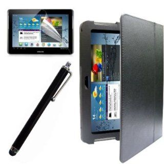 SQdeal� 10.1'' New Classic Black Stand Folio Leather Case Cover with Touch Stylus Pen and Screen Film for Samsung Galaxy Tab 2 10.1 Inch P5100 P5110 P5113 Computers & Accessories