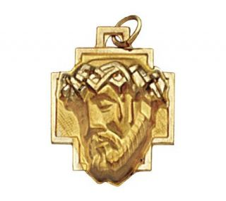14K Yellow Gold Christ Head Pendant —