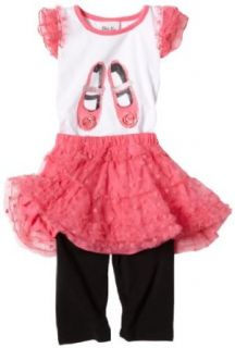 Little Lass Girls 2 6x Ballet Slippers 3 Piece Tutu Set, 2T, Bright rose Clothing Sets Clothing