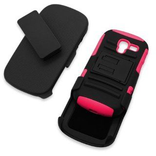 CoverON� Hybrid Heavy Duty Case with Hard Kickstand Belt Clip Holster for Samsung Galaxy Exhibit   Black / Hot Pink Cell Phones & Accessories