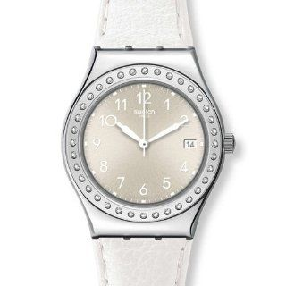 Swatch YLS448 white fan silver dial leather strap women watch NEW at  Women's Watch store.