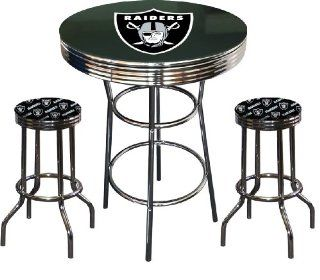 3 Piece Oakland Raiders Football Logo Chrome Metal Finish Pub Set with Glass Table Top & 2 Bar Stools