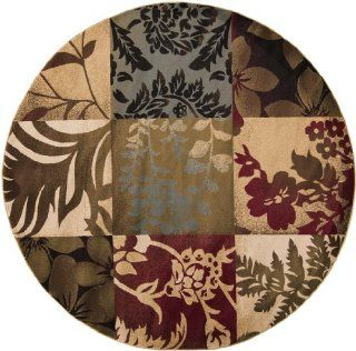8' Patchwork Garden Brown and Tan Geometric Blocks Round Area Throw Rug   Machine Made Rugs
