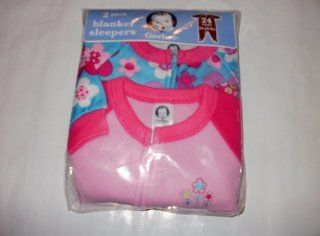 Gerber 2 Pack Footed Pajamas Blanket Sleepers 24 Months  Pink & Floral  Infant And Toddler Sleepers  Baby