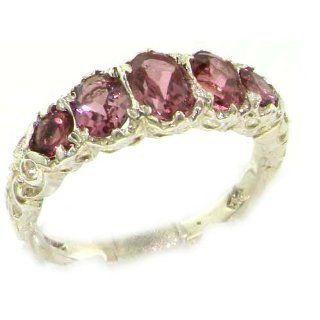 High Quality Solid 14K White Gold Natural Pink Tourmaline English Victorian Ring   Finger Sizes 5 to 12 Available   Perfect Gift for Birthday, Christmas, Valentines Day, Mothers Day, Mom, Grandmother, Daughter, Graduation, Bridesmaid. Jewelry
