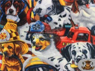 "Fleece Fabric Printed *FIREFIGHTER DOG*/ 58"" W / Sold by the yard N 462"