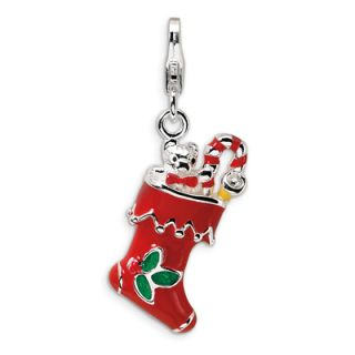 Amore La Vita™ Red and Green Christmas Stocking Charm in Sterling