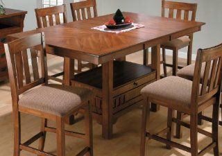 Jofran 477 72 Saddle Brown Oak Rectangular Counter Height Table W/ Leaf   Dining Tables