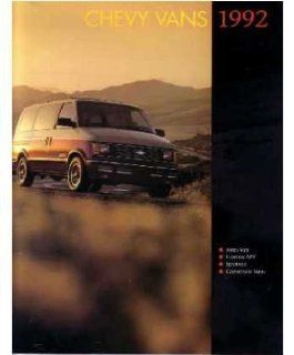 1992 Chevrolet Van Sales Brochure Literature Book Piece Specs Options Automotive