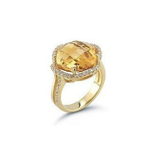 14 Karat Yellow Gold Polish Finished Cocktail Ring, Centered With A Citrine Color Stone Finished, Enhanced With Pave Set Diamonds. Jewelry